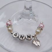 Baby Feet Personalised Wine Glass Charm - Elegance Style